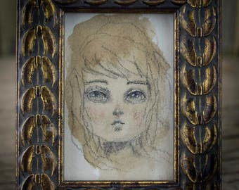 Irene: A mini ACEO portrait by Danita Art, painted in watercolor paintings on paper and mounted on a beautiful antique gold colored frame