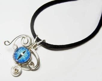 Wire Wrap Handmade Blue Daze Glass Evil Dragon Eye Pendant with Necklace
