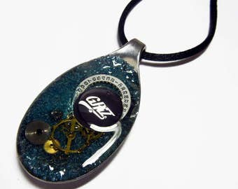 Steampunk GRIZ Altered Art Watch Parts and Gears Resin Vintage Spoon Pendant with Necklace