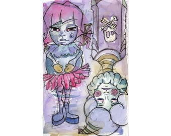 Original Watercolor Illustration - sad clowns Art by Ela Steel - purple pink  strange lowbrow art