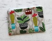 Cactus change purse - cactus zipper pouch - cacti coin purse - palm springs - zip pouch - small zipper pouch - under 10 gift