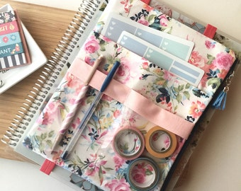 Planner accessories floral print pouch, washi tape holder, planner sticker organizer - Fits Big Happy Planner, Deluxe EC Planner and more