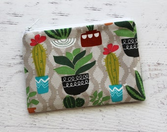 Cactus change purse - cactus zipper pouch - cacti coin purse - palm springs - zip pouch - small zipper pouch - under 10 gift