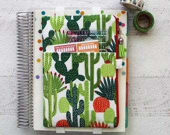 Cactus Planner Pouch - Planner cover -  Planner Band - Pocket Planner Pouch - Cactus Bag - Journal Cover - pencil pouch - Southwestern Bag