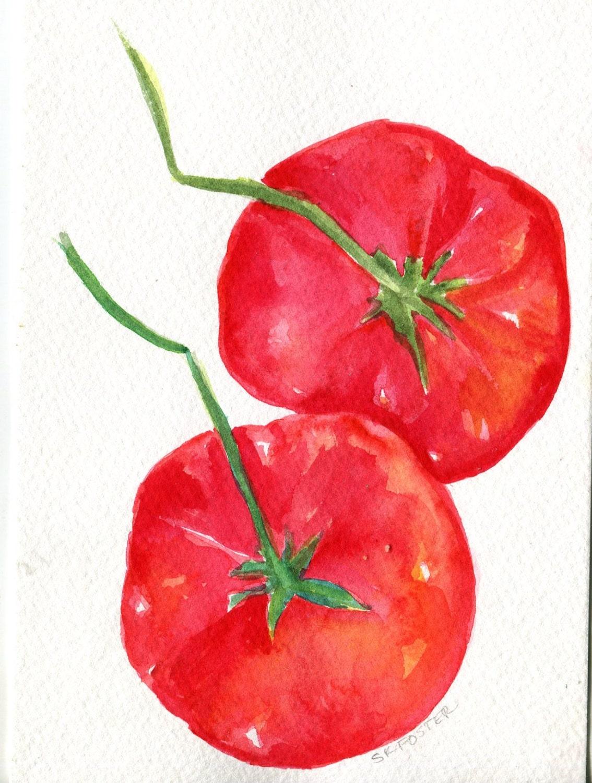 Tomatoes Watercolors Paintings Original Small Fruit