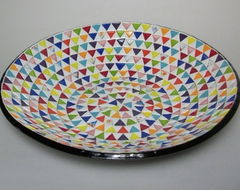 Ceramic Serving Bowl - Large Serving Bowl with Rainbow Triangles