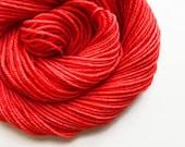 POPPY red hand dyed yarn fingering sock dk bulky yarn super wash merino wool yarn single or ply. you choose your base. orangish red yarn