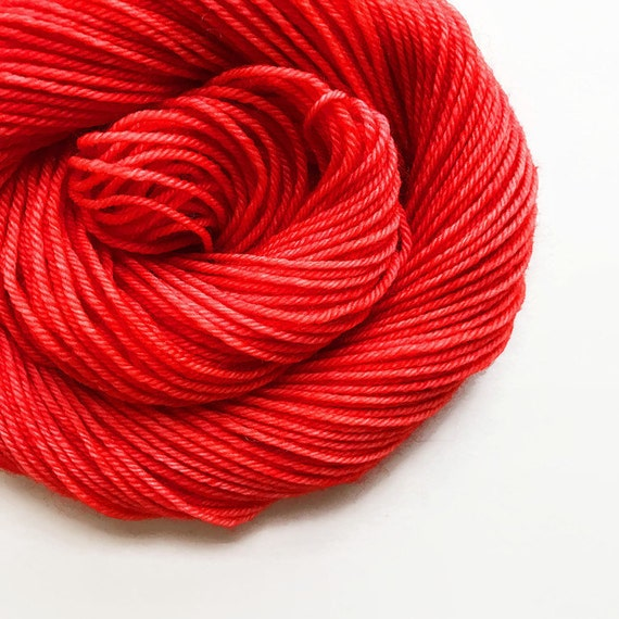 poppy / hand dyed yarn / fingering sock dk bulky yarn / super wash merino wool yarn / single or ply/ choose your base / orangish red yarn
