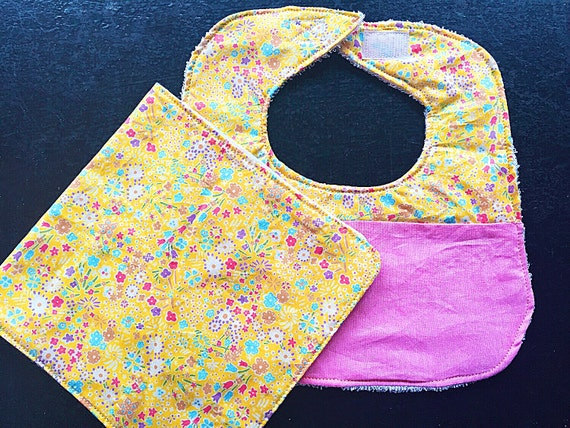 Baby Bib and Burp Cloth Set Yellow Flowers, Baby Girl Gift Set, Baby Shower Gift, New Baby Gift, Infant Bib