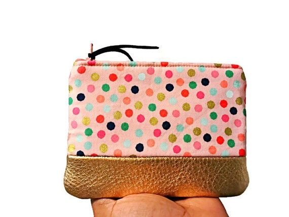 Polka Dots Pink Metallic Leather Pouch, Coin Purse, Small Change Wallet, Zipper Pouch