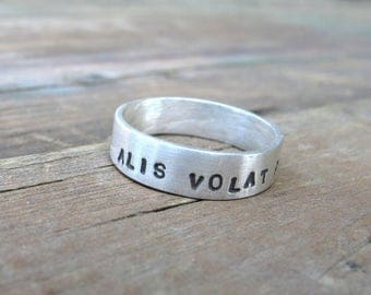 Alis Volat Propriis She Flies With Her Own Wings Sterling Silver Stamped Ring Fundraiser for The Women's March
