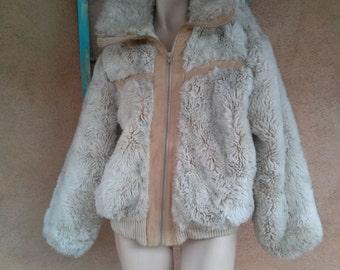 Vintage 1970s Coat 70s Bomber Jacket Faux Fur Vegan Mens M Womens M Lg