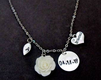 Wedding Date Necklace, Bridesmaid Gift, Personalized Bridesmaid Necklace, Bridesmaid Jewelry,Custom Initial Date Necklace, Free Shipping USA