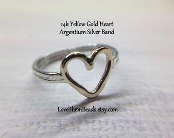 Open Heart Finger Ring or Toe Ring - 14K Gold Heart - Argentium Silver Band, made to order, silver gold combo, mixed metal, by LoveThemBeads