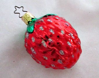 Strawberry Glass Christmas Tree Vintage Ornament  - West Germany Vintage Holiday Ornament