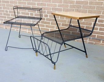 Mid Century Pair of Coordinating Metal Glass and Wood End Tables