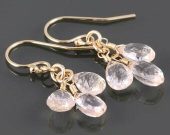 Morganite Cluster Earrings. Three Stones. Gold Filled Ear Wires. Genuine Gemstones. Pale Pink Earrings. s17e019