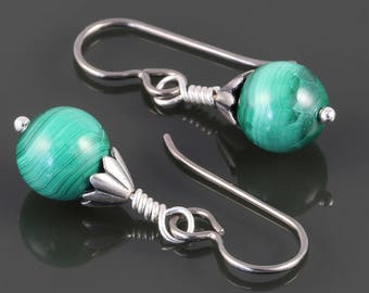 Malachite Earrings. Titanium Ear Wires. Small Drop Earrings. Genuine Gemstone. s17e065