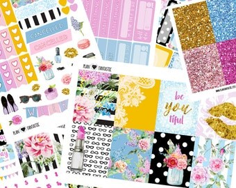 Glam Planner Sticker Kit - Summer Weekly Planner Sticker Set - for use with Erin Condren Life Planner™