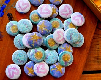 advent buttons - hope, peace, joy, love - a set of 32 blessing buttons with pin back