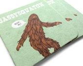 Sassysquatch Beer Me coaster set by Anna Tillett Designs, bigfoot, cryptozoology, sasquatch, yeti