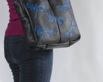 Sale! Black tote bag, leather bag, upcycled bag, bag with dragonflies