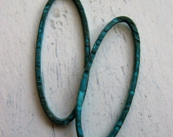 Hammered Brass Slender Oval Links in Blue Patina - 1 pair
