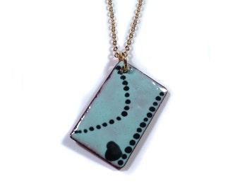 love letter envelope enamel necklace / robin's egg blue, gold-plated brass