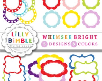 40% off Whimsee Bright Labels, tags, banners, for stationary, scrapbooking, cards, frames, Instand Download