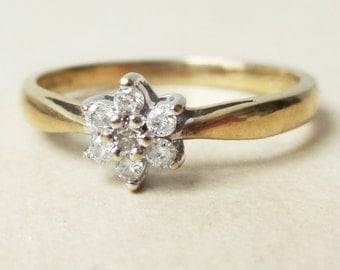Vintage Diamond Flower Ring, 9k Gold Seven Diamond Cluster Engagement Ring Approximate Size US 6.5