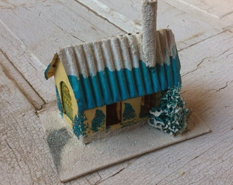 Vintage Mica Glitter Putz CottageHouse/Country Cottage Christmas/Christmas Village/Tiny Cardboard House/Yellow and Turquoise/Glitter House