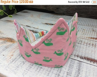 SALE- Children's Birthday Crown-Eco Friendly-Upcycled-Quilted-Reversible-Whale's Tale
