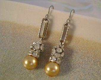Gala Girl - Vintage Pearls Rhinestones Pocket Watch Chains Niobium Sparkling Wedding Bridal Recycled Jewelry Earrings