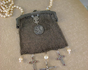 Keeping the Faith - Victorian Art Deco German Silver Mesh Purse Catholic Medals Crucifix Pearls Recycled Assemblage Necklace