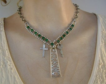 Far East - Emerald Rhinestones Sterling Silver Hong Kong Souvenir Spoon Cross Key Recycled Assemblage Jewelry Necklace