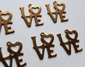 Vintage love text charms