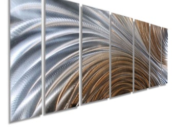 Large Silver & Amber Modern Metal Wall Art, Home Decor, Abstract Wall Hanging, Contempoary Wall Sculpture - Amber Ascension by Jon Allen