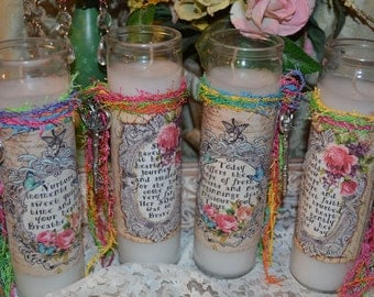 NEW  BEGINNINGS CANDLE SeT Of TWo altered collage art therapy hope ptsd recovery journey quiet time inspirational