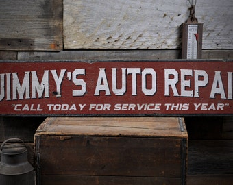 Auto Repair Sign, Mechanic Sign, Mechanic Gift, Mechanic Mancave, Custom Auto Sign, Auto Sign - Rustic Hand Made Distressed Wood ENS1000840