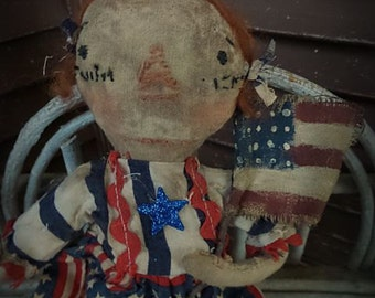 MUSTARD SEED ORIGINALS, Americana, Usa, Patriotic, Raggedy Ann, Flag, July,TeamHaHa, Hafair, Cloth Doll by Sharon Stevens