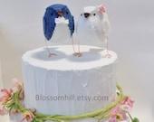 Reserved - Wedding cake topper,  lovebirds in navy and white - custom made