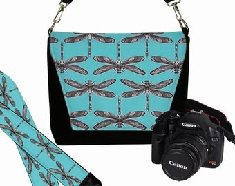 SET Dslr Camera Bag and Dslr Camera Strap, Camera Bag Slr and Camera Neck Strap, Turquoise Dragonflies RTS