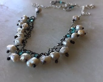 Pearls Necklace, Cluster of Pearls Necklace, Natural Pearl Necklace, Silver Necklace