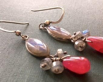 Fuchsia Chalcedony and Labradorite Earrings, Cluster Earrings, Statement Earrings, Hot Pink Earrings, Gemstone Earrings, Silver Earrings