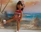 """14 and 14.5"""" Doll Pink Rompers With Reversible Hat Fits Dolls like H4H and Wellie Wishers OOAK"""