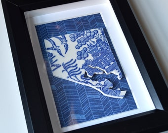 Framed Recycled China Baltimore - Blue Willow