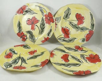 Ceramic Poppy Flower Plate in Yellow and Red, Lunch plate, cookie platter, poppies salad plate, ceramics and pottery, anniversary gift