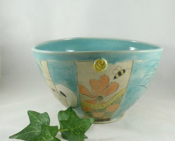 Large Serving Bowl, Ceramics and Pottery, Aqua Pasta Bowl, 9th Anniversary Gift for Her, Kitchen Decor, Wedding Couples Gift  809