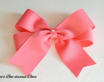 Coral Rose Tails Down Hair Bow, 3 Sizes Available, medium, large, extra large, hair bow, girls bows, international shipping