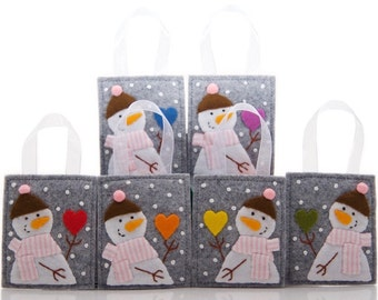 Rainbow Christmas Ornaments, Set of 6 Snowmen, Embroidered Felt With Rainbow Hearts, Love Ornaments, Advent Calendar Gifts, Christmas Love